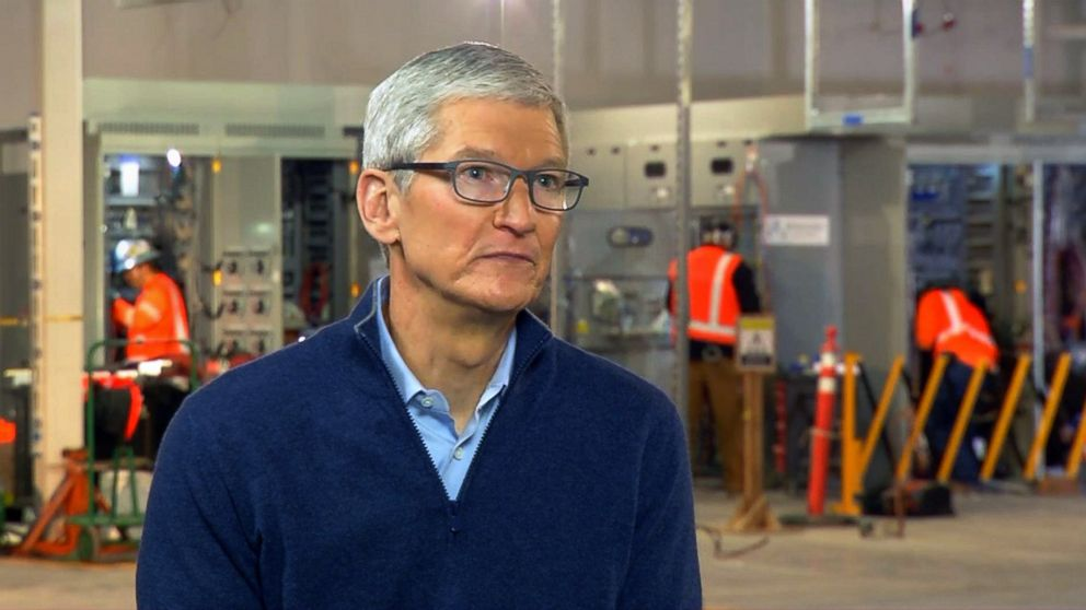 Apple CEO Tim Cook is interviewed by ABC News in Reno, Nev., Jan. 17, 2018.