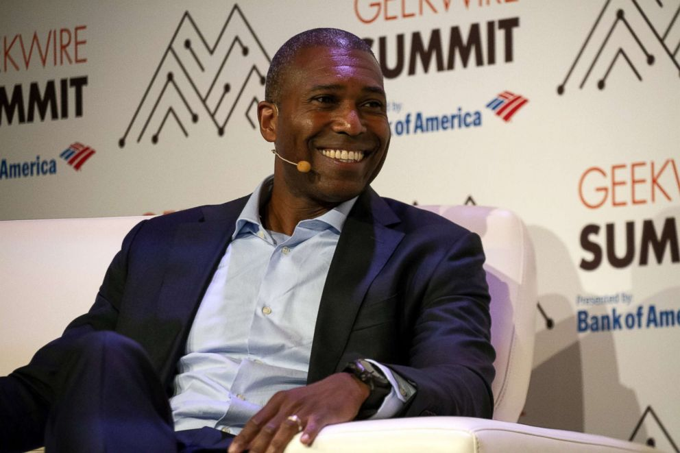 PHOTO: Tony West, chief legal officer of Uber Technologies Inc., smiles during the GeekWire Summit event in Seattle, Washington, Oct. 2, 2018.
