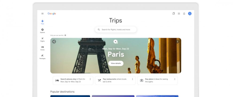 PHOTO: Google introduced new travel tools.