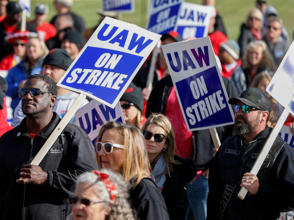 PHOTO: United Auto Workers union members and their families rally near the General Motors Flint Assembly plant on Solidarity Sunday on Oct. 13, 2019, in Flint, Michigan.