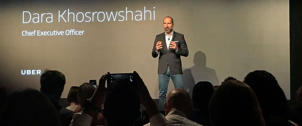 PHOTO: Uber CEO Dara Khosrowshahi announces new safety features on stage in New York City.