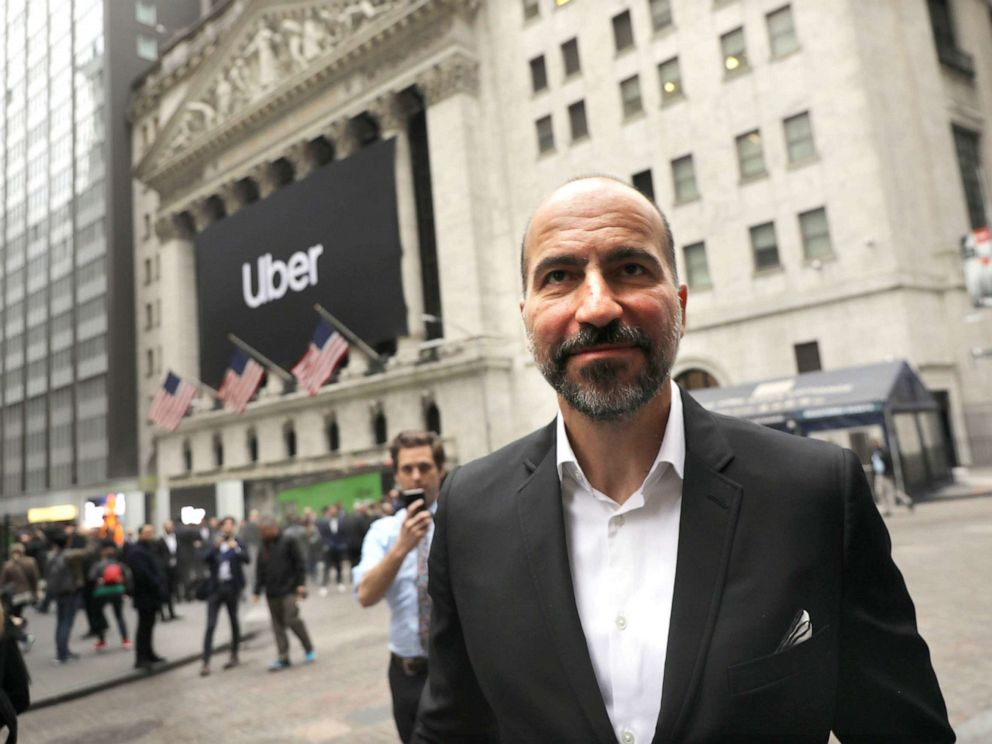 PHOTO: Uber CEO Dara Khosrowshahi walks outside of the New York Stock Exchange (NYSE) before ringing the Opening Bell at the NYSE as the ride-hailing company Uber makes its highly anticipated initial public offering (IPO) on May 10, 2019, in New York.
