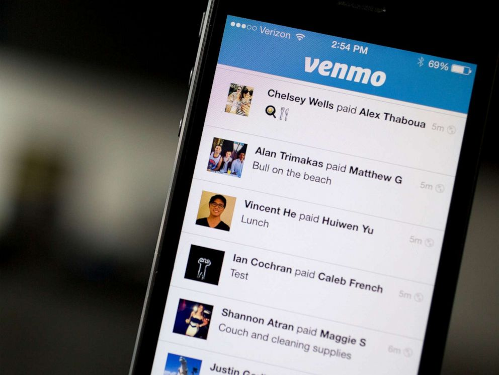 PHOTO: Financial transactions are listed on a Venmo app running on an iPhone in Washington, D.C., Aug. 22, 2014.