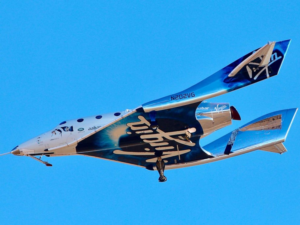 PHOTO: Virgin Galactic reaches space for the first time during its 4th powered flight from Mojave, Calif., Dec. 13, 2018. The aircraft called VSS Unity reached an altitude of 271,268 feet reaching the lower altitudes of space.