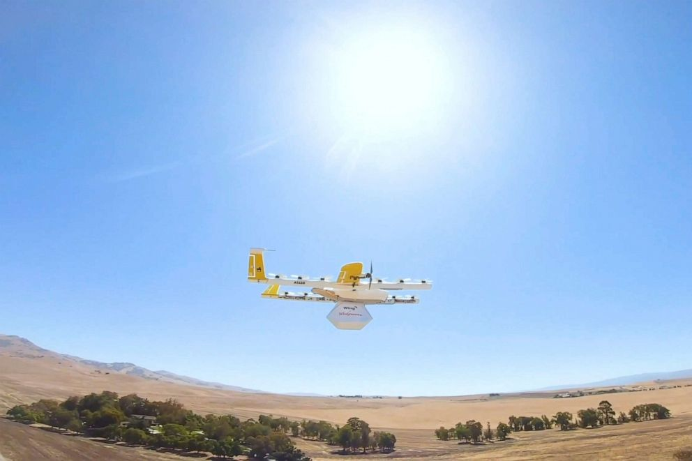 PHOTO: This undated image made from video provided in September 2019 by Wing, a member of the Alphabet family of companies, shows a delivery drone test which is part of a partnership with Walgreens.