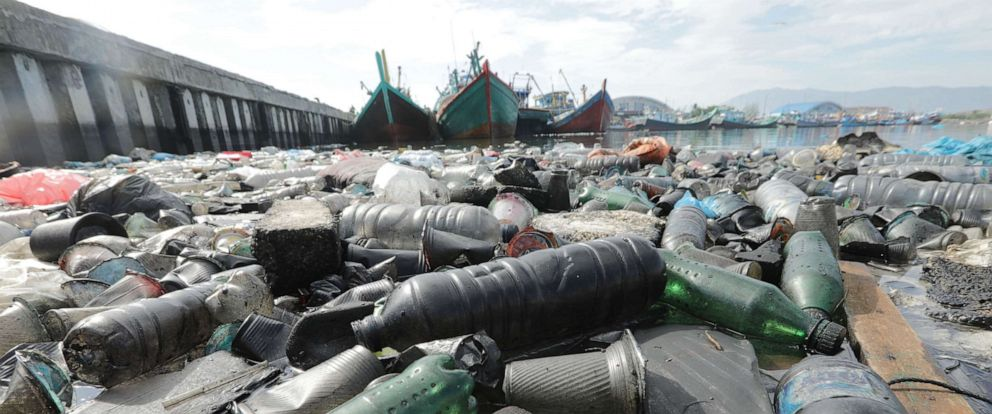 PHOTO: A view of plastic bottles and other garbage floating near the traditional fishing port in Lam Pulo, Banda Aceh, Indonesia, Sept. 17, 2019.