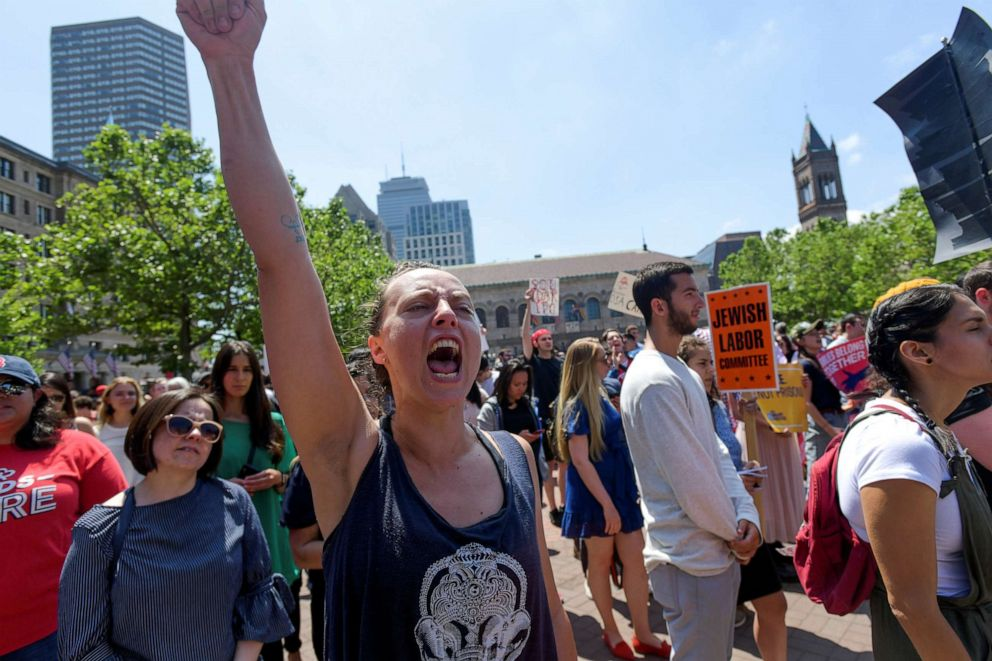 PHOTO: Joanna Brown, 32, of Quincy joins Wayfair employees on Copley Plaza, protesting the companys sales of beds and furniture to U.S. border detention facilities, in Boston, June 26, 2019.