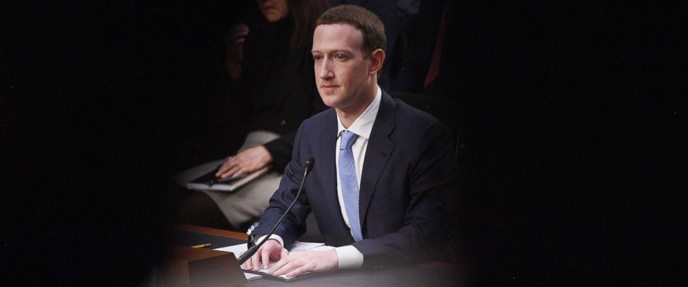 PHOTO: Facebook founder and CEO Mark Zuckerberg testifies during hearing about Facebook on Capitol Hill in Washington, D.C., April 10, 2018.