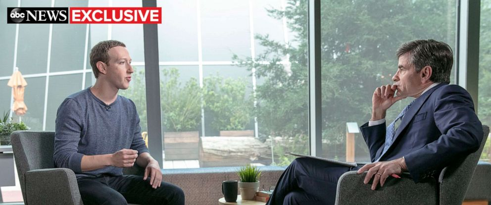 PHOTO: George Stephanopoulos sits down exclusively with Facebook CEO Mark Zuckerberg at Facebook Headquarters in Menlo Park, Calif., April 3, 2019.