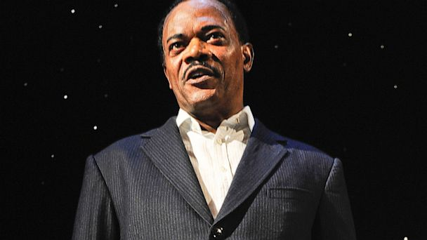 """PHOTO: Samuel L. Jackson in hi portrayal of Martin Luther King in """"Mountaintop"""" at The Bernard B. Jacobs Theatre on December 21, 2011 in New York City."""