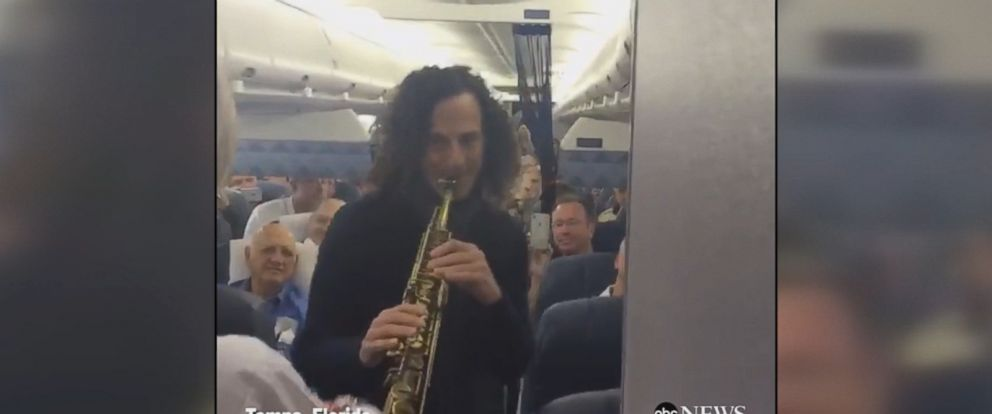 SMOOTH SKIES: Delta Airlines passengers were treated were treated to a surprise performance by saxophonist Kenny G after flight attendants asked passengers to help fund-raise for Relay for Life.