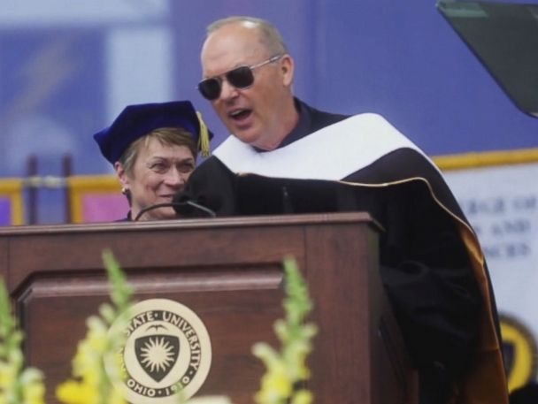 WATCH:  Two words from Michael Keaton leave college grads cheering