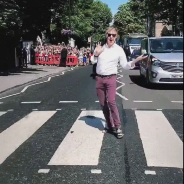 Watch Paul Mccartney Recreate The Abbey Road Album Cover Gma