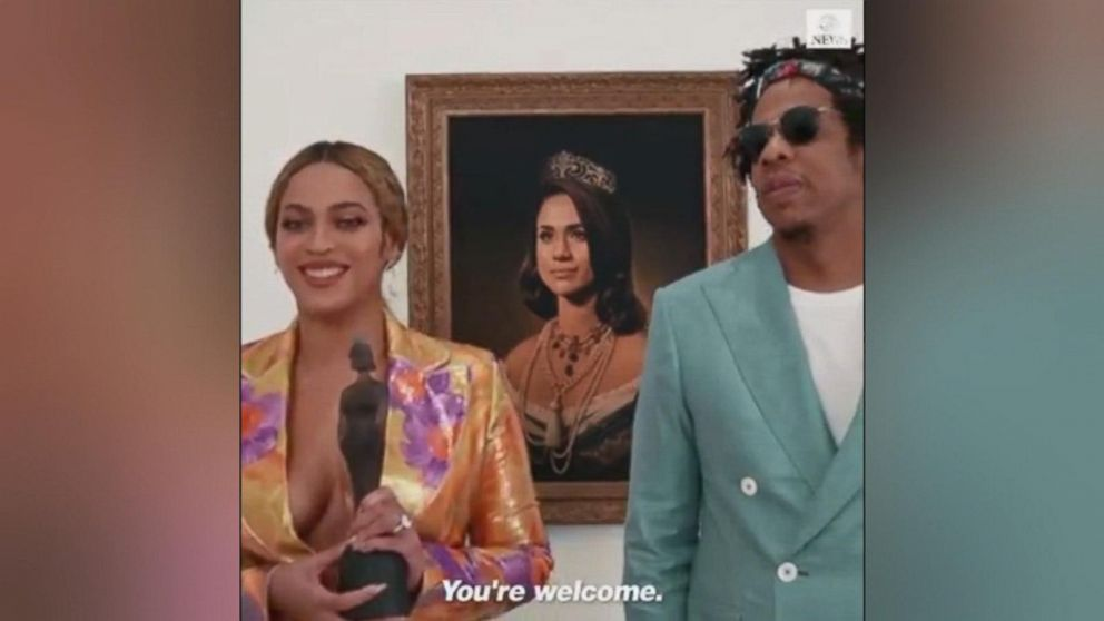 Beyonce and Jay Z make awards acceptance speech in front of Duchess Meghan portrait