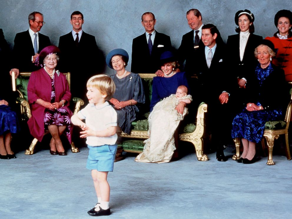 PHOTO: Surrounded by royal relatives and godparents who are amused at the antics of young Prince William, Prince Harry is christened at Windsor Castle, Dec. 21, 1984 in Windsor, England.