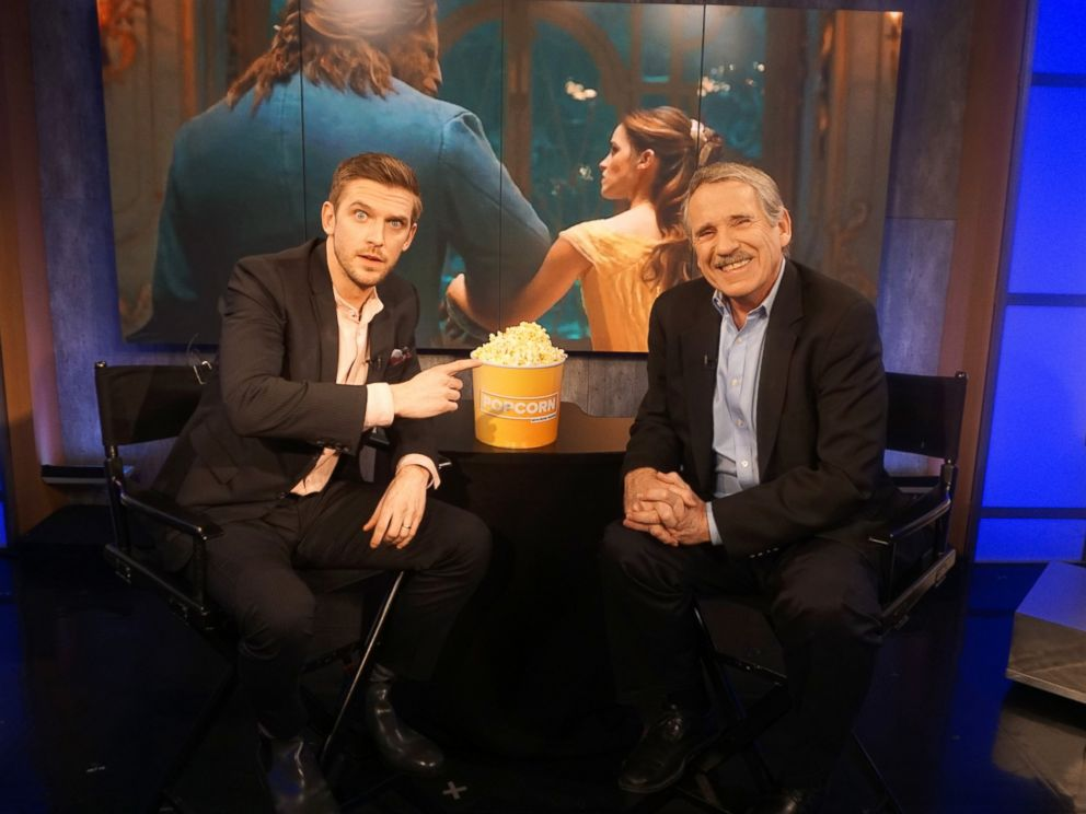 PHOTO: Dan Stevens and Peter Travers at the ABC News studios in New York City, Feb. 6, 2017.