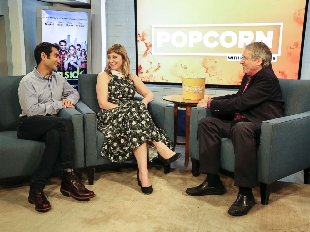 PHOTO: Kumail Nanjiani and Emily V. Gordon, from The Big Sick, at the ABC News studios in New York City, on Popcorn with Peter Travers, June 22, 2017.