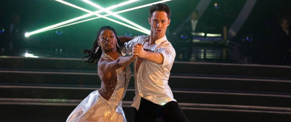 "PHOTO: Simone Biles and Sasha Farber appear on ""Dancing with the Stars,"" March 20, 2017."