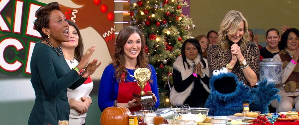 "PHOTO: Cherie Michaud, 28, was named the winner of the ""GMA"" Great American Cookie Search by judges Gail Simmons and Cookie Monster."