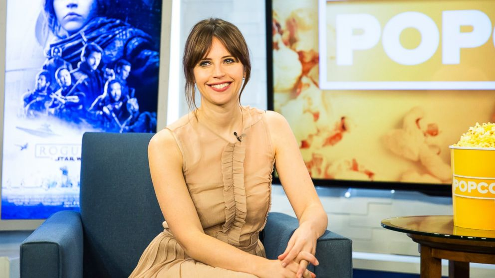"Felicity Jones appears here on ""Popcorn With Peter Travers."""