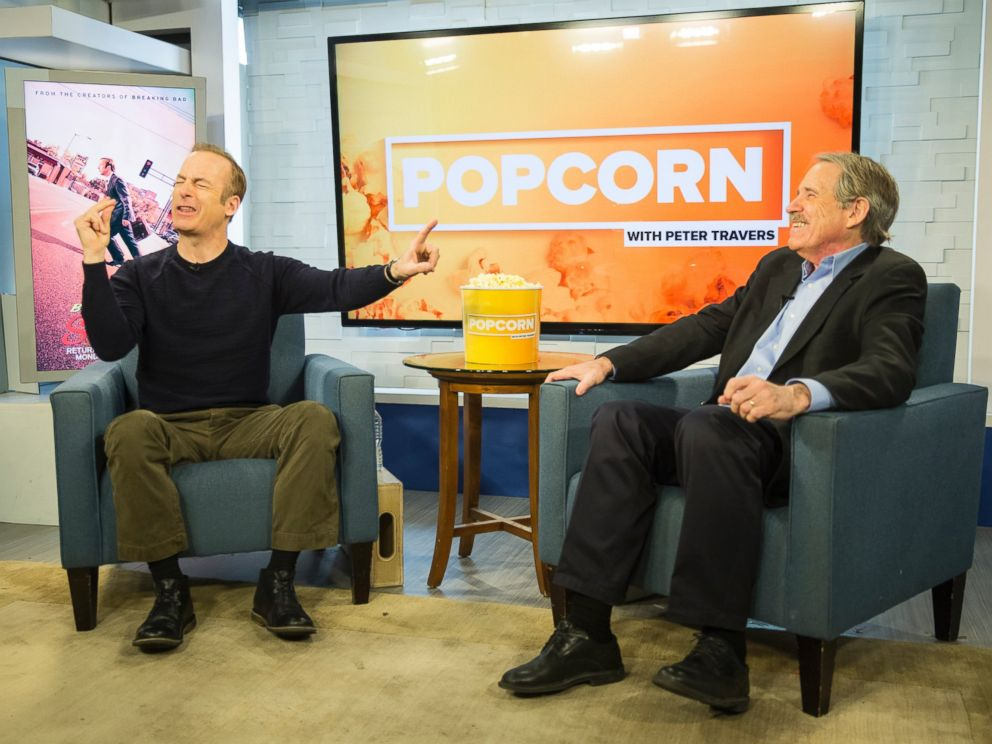PHOTO: Bob Odenkirk and Peter Travers are seen here at the ABC News studios in New York, Feb. 15, 2017.