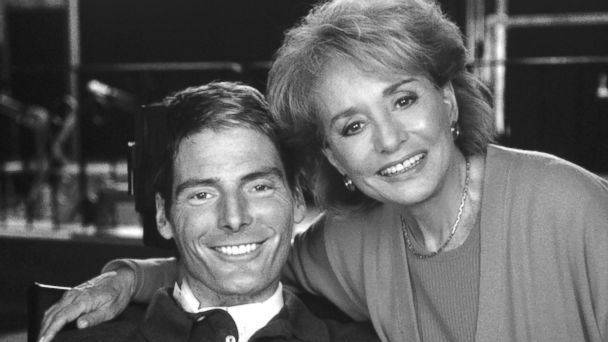"PHOTO: In his first interview since he was left paralyzed from the neck down, actor Christopher Reeve talks with Barbara Walters on a special ABC News ""20/20,"" airing Sept. 29, 1995 at the Kessler Institute for Rehabilitation in New Jersey."