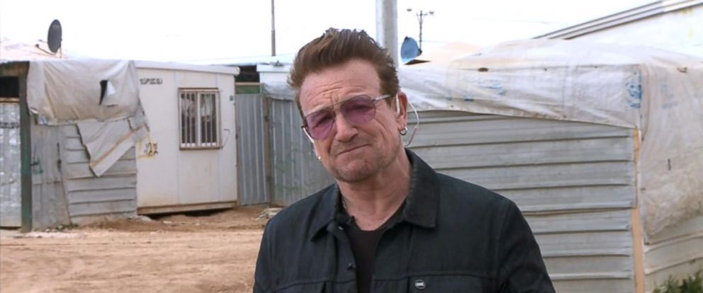"""PHOTO: U2 frontman Bono spoke to """"Good Morning America"""" about the refugee crisis while visiting a refugee camp in Jordan."""