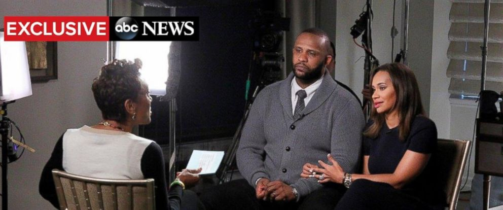 "PHOTO: Robin Roberts exclusive interview with NY Yankees pitcher CC Sabathia and his wife Amber airs on ""Good Morning America,"" Nov. 6, 2105."