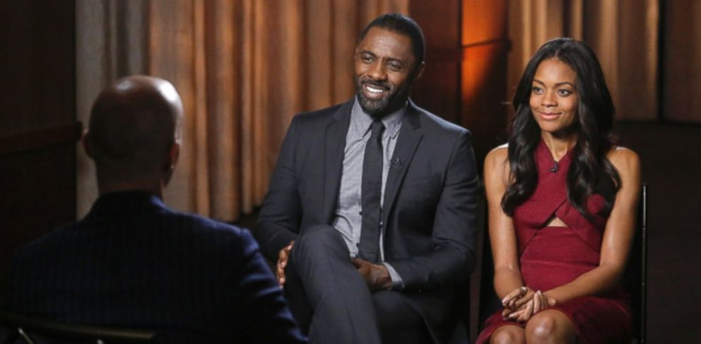 "PHOTO: ABC News Byron Pitts interviews Idris Elba and Naomie Harris, the stars of ""Mandela: The Long Walk to Freedom,"" for ""Nightline."""