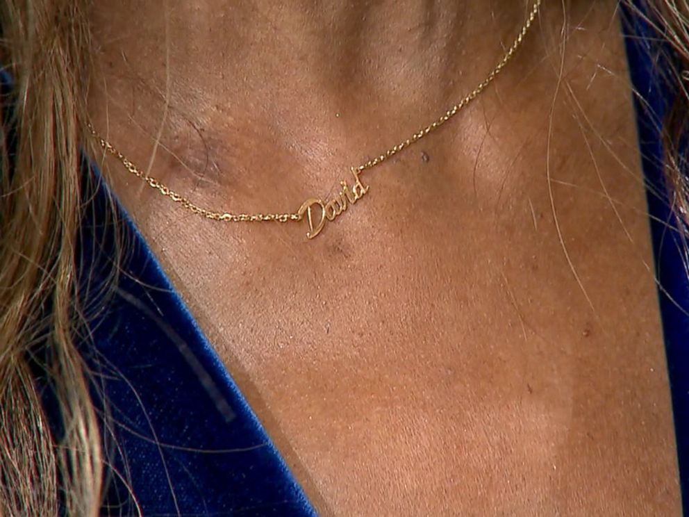 PHOTO:Model Iman who appeared on Good Morning America to talk about her late husband, David Bowie. She wears a necklace with his name on it in his honor.