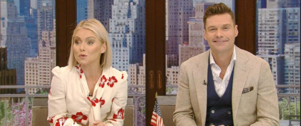 """PHOTO: Kelly Ripa announces new host today on """"LIVE with Kelly"""", Ryan Seacrest, on May 1, 2017, in New York City."""
