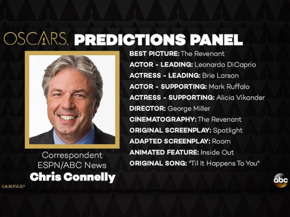 PHOTO: Chris Connelly and his Oscar Predictions for 2016.