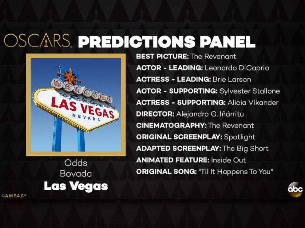 PHOTO: The odds in Las Vegas and its Oscar Predictions for 2016.