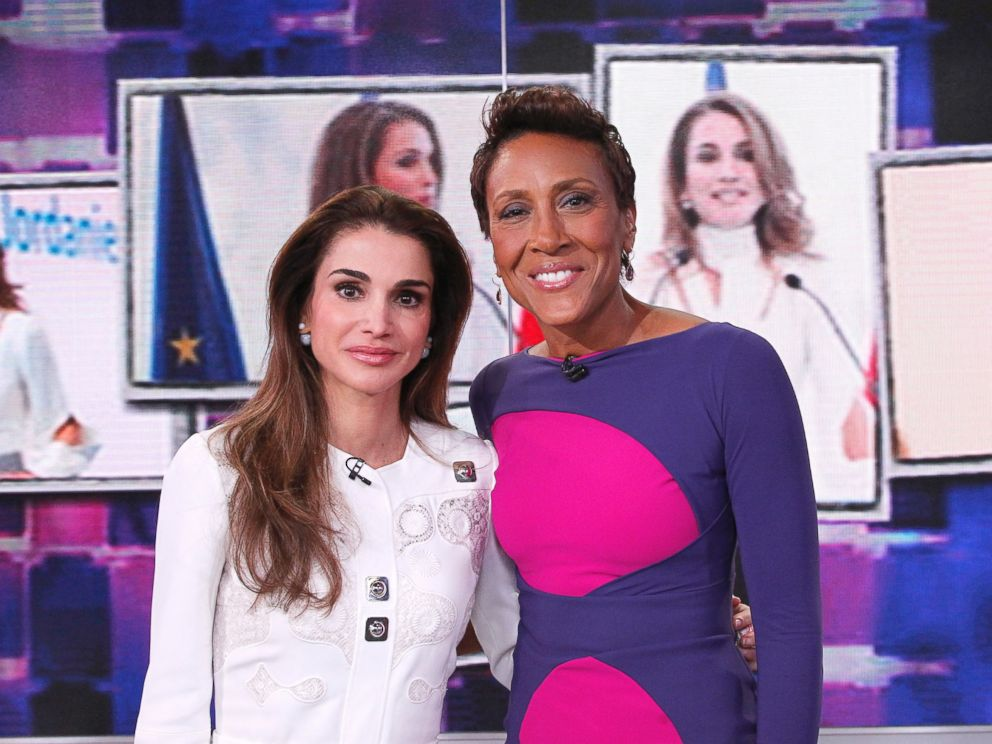 PHOTO:Queen Rania of Jordan was interviewed by GMA co-anchor Robin Roberts in the GMA Times Square studio.