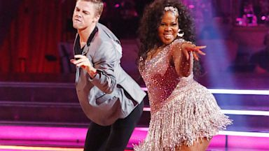 """PHOTO: Derek Hough and Amber Riley, an actress from """"Glee"""", are seen doing the Cha Cha on the premiere of """"Dancing with the Stars"""", which aired on Sept. 17, 2013."""