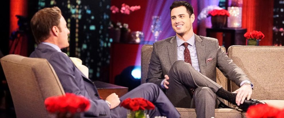"PHOTO: Bachelor Ben Higgins talks with Chris Harrison on ""The Bachelor: The Women Tell All."""