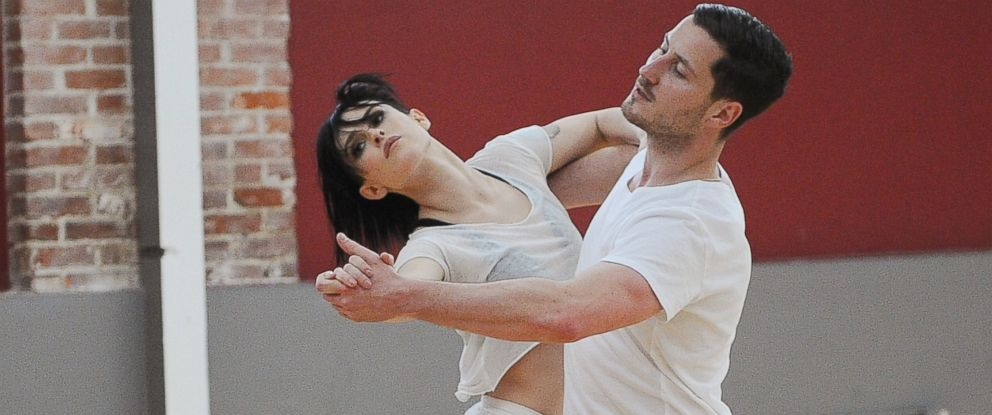 "PHOTO: From left, Rumer Willis and Val Chmerkovskiy dance during a rehearsal for ""Dancing With The Stars."""