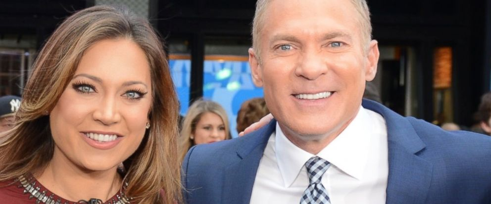 "PHOTO: ABC News Chief Meteorologist Ginger Zee and Sam Champion appear together on the ""Good Morning America"" 40th anniversary show, Nov. 19, 2015, in New York."