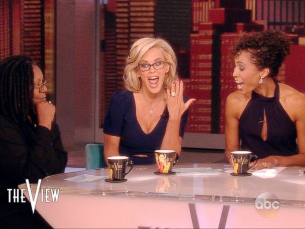 PHOTO: While hosting The View on April 16, 2014, Jenny McCarthy announced that she is engaged to Donnie Wahlberg and showed off her engagement ring.