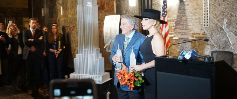 PHOTO: Lady Gaga and Tony Bennett preparing to light the Empire State Building in New York, Aug. 3, 2016.