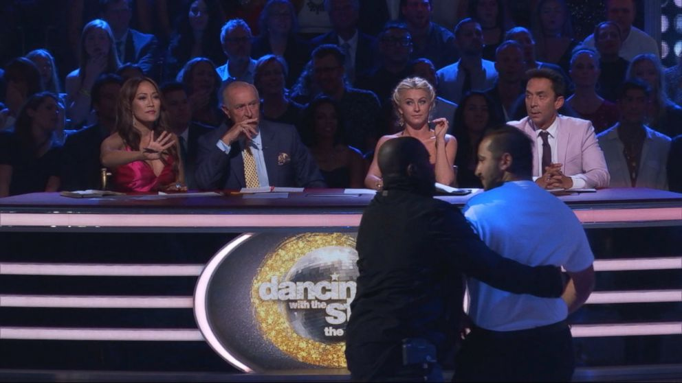"""Ryan Lochte protestors ran on the set of """"Dancing With The Stars,"""" Sept. 12, 2016."""