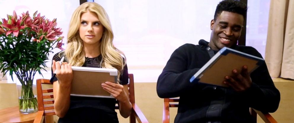 "PHOTO: Charlotte McKinney and dance partner Keo play a word association game on ""Good Morning America,"" March 31, 2015."