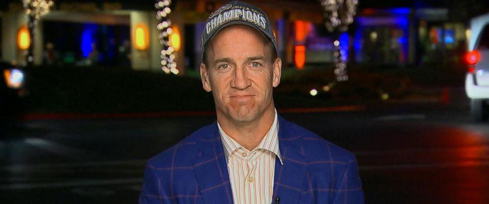 """PHOTO: Denver Broncos quarterback Peyton Manning spoke to """"Good Morning America"""" after winning Super Bowl 50."""