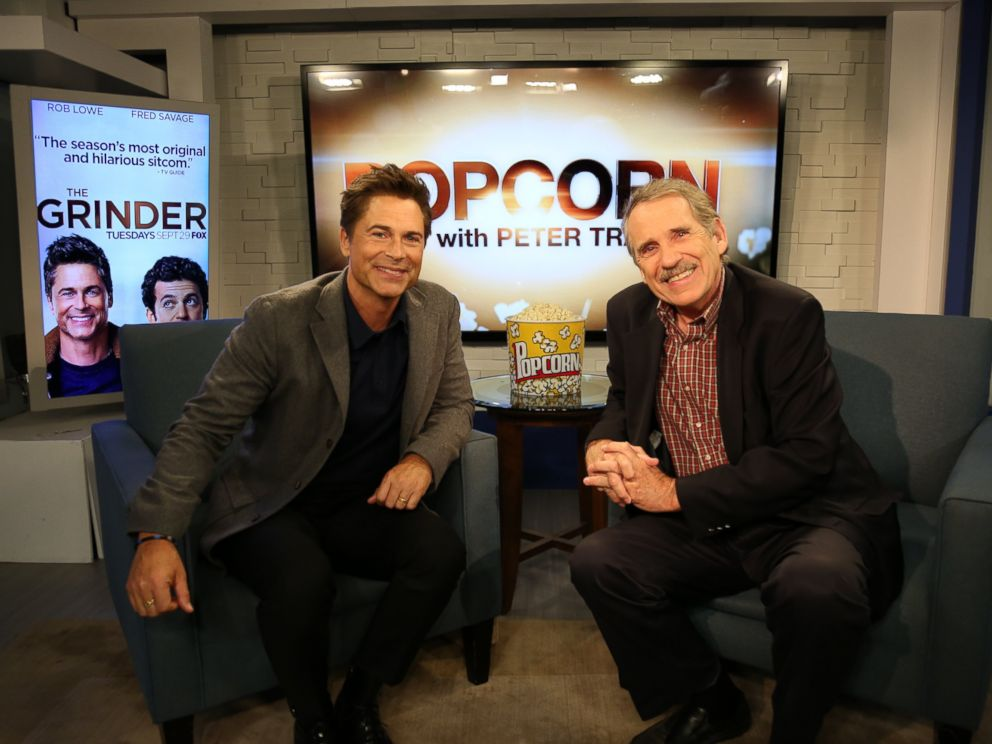 PHOTO:Rob Lowe and Peter Travers on the set of Popcorn with Peter Travers.
