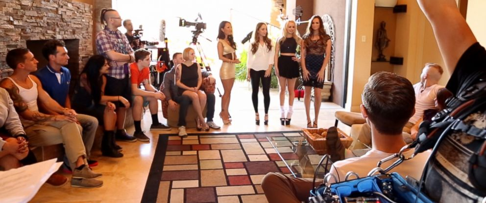 "PHOTO: ""The Sex Factor"" contestants are seen here running through a taping of an episode. The main condition for entry is that contestants couldnt have any prior experience in the porn industry."