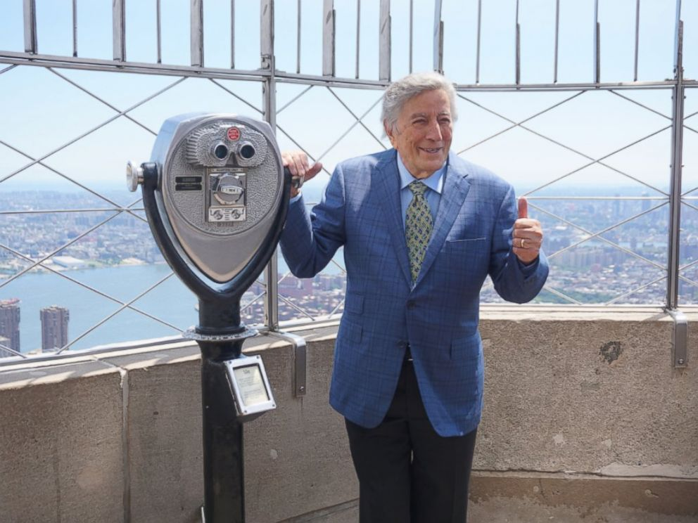 PHOTO: Tony Bennett atop the Empire State Building in New York on his 90th birthday, Aug. 3, 2016.