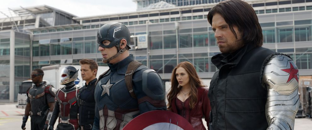 "PHOTO: Anthony Mackie, from left, Paul Rudd, Jeremy Renner, Chris Evans, Elizabeth Olsen and Sebastian Stan appear in a scene from Disneys ""Captain America: Civil War."""