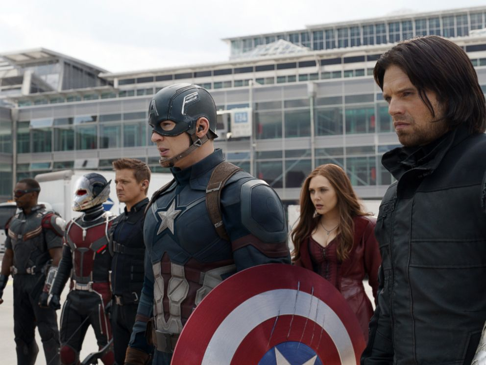 PHOTO: Anthony Mackie, from left, Paul Rudd, Jeremy Renner, Chris Evans, Elizabeth Olsen and Sebastian Stan appear in a scene from Disneys Captain America: Civil War.