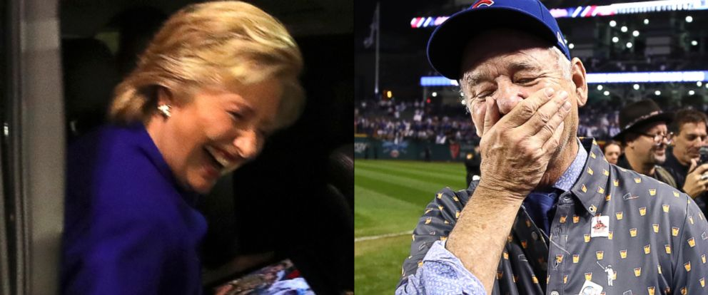 PHOTO: Democratic presidential candidate Hillary Clinton, in Tempe, Arizona, as the Chicago Cubs win the World Series, Nov. 2, 2016 | Actor Bill Murray reacts on the field after the Chicago Cubs win the World Series, on Nov. 2, 2016, in Cleveland, Ohio.