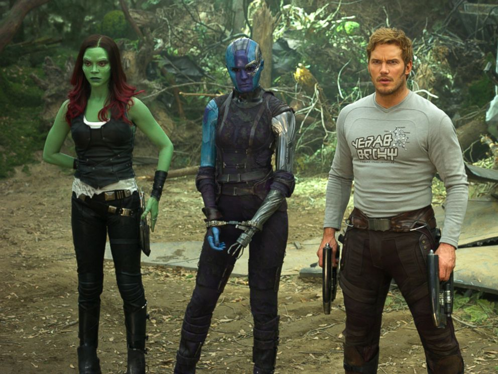 PHOTO: Zoe Saldana, left, Karen Gillan, Chris Pratt, Dave Bautista and Rocket, voiced by Bradley Cooper, in a scene from, Guardians Of The Galaxy Vol. 2.